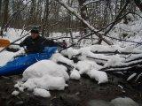 kajakarstwo zimowe, kajakarstwo zwałkowe, spływ Mienią